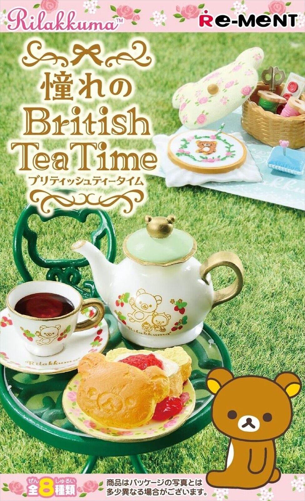 Re-ment Miniature British Tea Time Full Set 8 Rilakkuma Relax Bear Japan  NEW