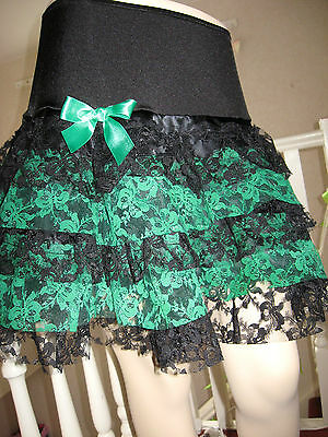 New Gothic Black,Green,Lace frilled,tiered Skirt Lolita,Dita,Rock.punk all sizes