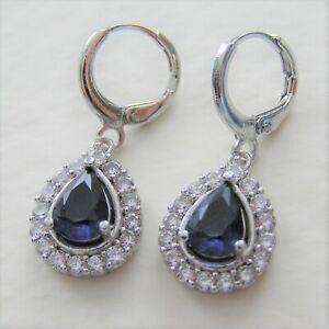 Details About Blue Cubic Zirconia Pear Tear Drop Dangle Pierced White Gold Plated Earrings