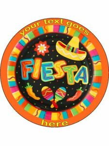 Mexican Fiesta Party maraca personalised wafer or Icing ...