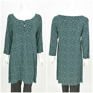 Womens-The-Masai-Tunic-Shirt-Long-Green-Floral-Viscose-Zip-Neck-Size-M