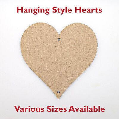 Wooden MDF Hearts Shape 3mm 2 Holes, Garland and Hanging Decoration, Craft Shape