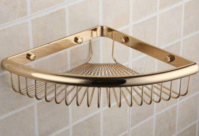 Luxury Gold Color Brass Bath Soap / Sponge Corner Shower Storage ...