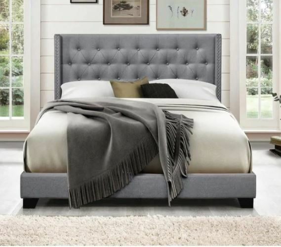 Eastern King Bed Upholstered Headboard Fabric Walnut Finish Bedroom Furniture For Sale Online Ebay