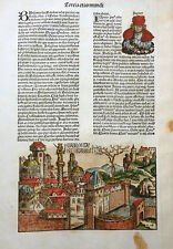 IRAK BABYLON EUPHRAT SCHEDEL WELTCHRONIK INKUNABEL STADTANSICHT KOBERGER 1493