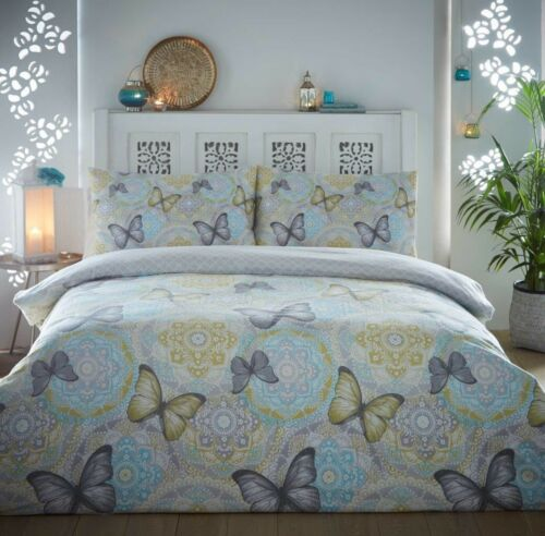 NEW Butterfly Reversible Printed 100/% Flannel Duvet Set Cover Pillowcases