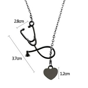COLLAR-29 Collar fonendo corazon latido y cadena enfermera medico PLATEADO