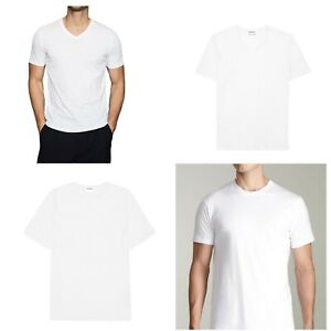 3-6-Packs-Men-100-Thick-Cotton-Crew-Neck-V-Neck-T-Shirt-Casual-Tee-White-S-4XL