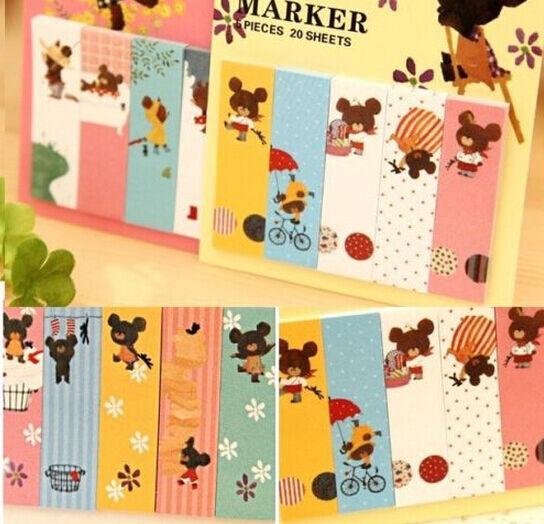 FD1034 Sticky Marker Diary Note Book Bear Stationery Memo Notepad ~Random~ 1pc:)
