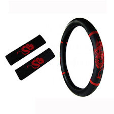 Brand New Red Dragon Car Truck Steering Wheel Cover Seat Belt Covers Pads