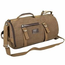 Eshow Mens Retro Canvas Weekend Travel Duffel Bag, Brown Shoulder Bag Carrying