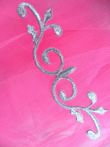 """GB137 Silver Scroll Metallic Applique Iron On Patch 4.25/"""""""
