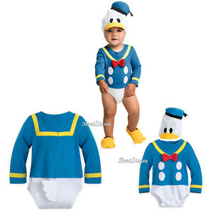 Donald Duck Tales Baby Bodysuit Dress Up Costume   3D Hat w  Tail ... 9e0e55dfdfb