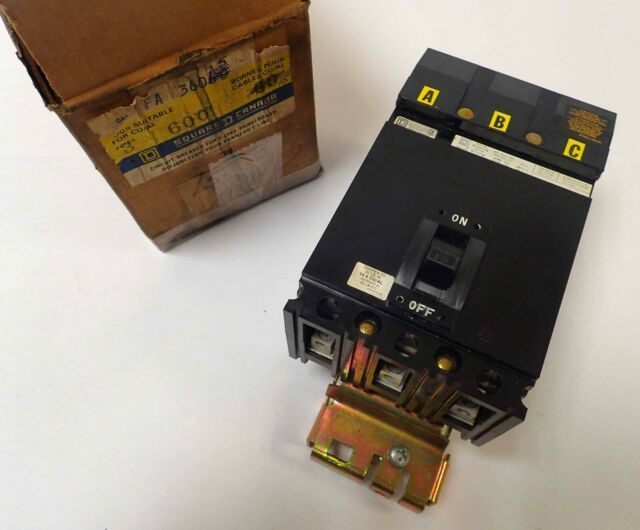 SQUARE D FA36015 CIRCUIT BREAKER 600V 15 AMP 3 POLE TESTED AND WORKING!