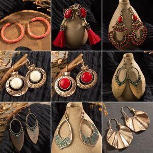 Vintage-Womens-Bohemian-Boho-Beads-Tassel-Dangle-Tribal-Earrings-Tibetan-Jewelry