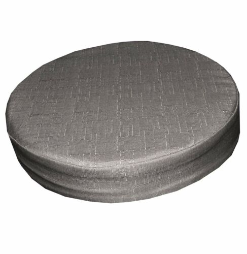 Qh14r Beige Grey Thick Cotton Blend 3D Round Seat Cushion Cover Custom Size