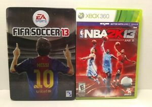 Xbox 360 EA Sports Fifa Soccer 13 Tin Case / NBA 2K 13, Lot of 2 Games