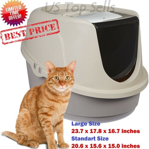 Cat Litter Box Enclosed Pan Hooded Jumbo Giant Covered Kitty House Extra Large//L