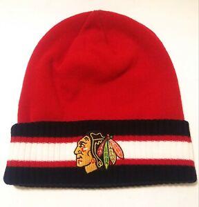 Chicago-Blackhawks-NHL-Logo-Reebok-Red-Black-Winter-Beanie-Knit-Hat-Cap-New