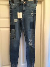 BNWT River Island Blue wash Molly rip & repair jeggings Size 10R BUT FIT LIKE 8R