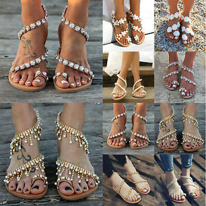 Womens-Boho-Pearl-Floral-Sandals-Summer-Holiday-Beach-Rhinestone-Flat-Shoes-Size