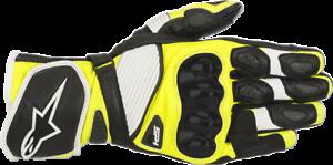 Alpinestars Mens Road SP-1 V2 Leather Gloves Black White Yellow M