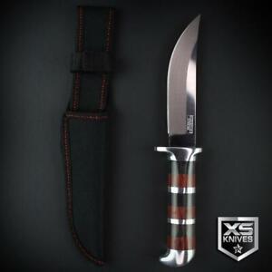 "ORNATE WOOD 10.25"" Survival BUSH CRAFT Fixed Blade BLACK / CHERRY Hunting Knife"