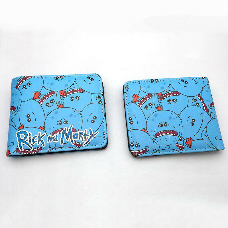 Rick and Morty Meeseeks Wallet Men Bifold Coins Cards Notes ID Holder Blue