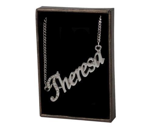 """18 K oro plateadoPersonalizada Checa Pedrería Collar Con Nombre /""""Theresa/"""""""