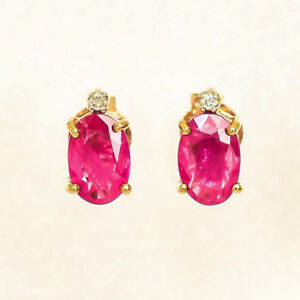 NATURAL-RUBY-EARRINGS-GENUINE-DIAMONDS-REAL-9K-GOLD-STUDS-JULY-BIRTHSTONE-NEW