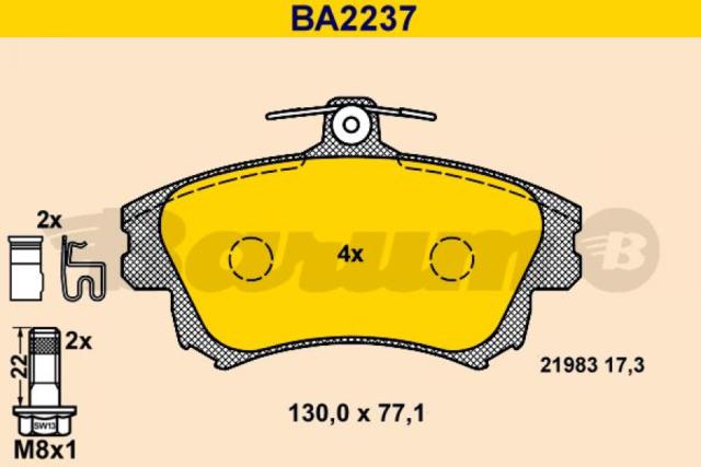 Bremsbelagsatz, Scheibenbremse BARUM BA2237 vorne für MITSUBISHI VOLVO
