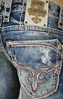 NWT New Mens Rock Revival Alt Straight Jeans Flann 29 31 32 33 34 36 38 40 Long