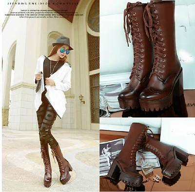 NEW Womens chunky Heel lace up knight platform fashion knee high boots plus size