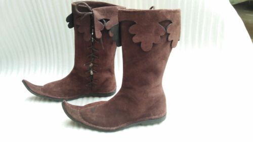 MEDIEVAL BOOTS VIKING PIRATE RENAISSANCE SHOE MENS BROWN LEATHER LONG SHOES BOOT