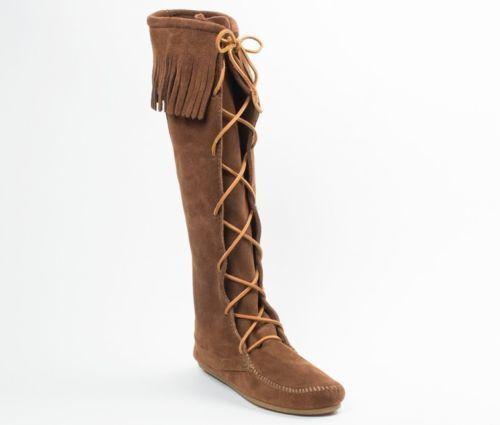 MINNETONKA Front Laces Moccasins 1428 Hardsole braun Suede damen Knee High Stiefel