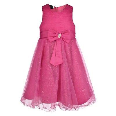 Girls Big Bow Glitter Dress For Wedding Bridesmaids Flowergirl Party 0m-13yr