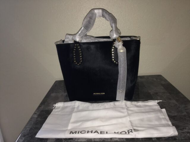 25f45404fc10 AUTHENTIC MICHAEL KORS BROOKLYN MEDIUM TOTE BLACK CALF HAIR NEW WT &  PACKAGING