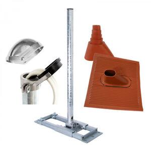 Sparrenhalter-130cm-Mast-SAT-Antennen-Dach-Halterung-Dachabdeckung-rot-ALU-Kappe