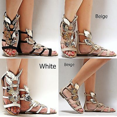 New Women FKi6 White Black Beige Tan Strappy Gold Wing Gladiator Flat Sandals