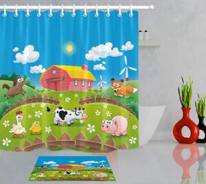 Children S Bathroom Shower Curtains.Details About 60 72 Kids Children Bathroom Fabric Shower Curtain Set Cartoon Farm Animal Pig