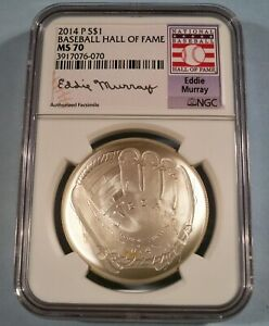 2014 BASEBALL HALL OF FAME NGC PF70 SILVER DOLLAR FIRST RELEASES HOF CERTIFICATE