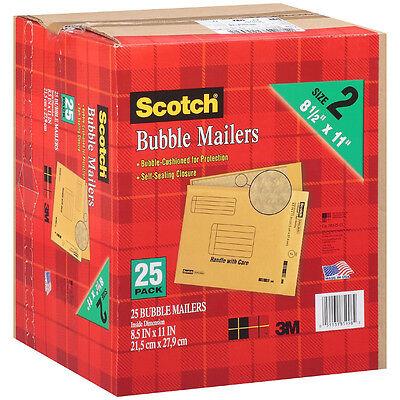 """Scotch Self Sealing Bubble Mailers - Size 2 8.5"""" x 11"""" - 25 pk."""