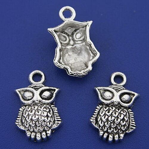 10pcs dark silver tone owl charms h3304