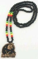 Rasta Wooden Bob Marley Necklace Reggae One Love Color Jamaica Chain