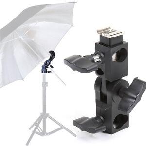 Umbrella-Mount-Bracket-Holder-Hot-Shoe-Flash-Adapter-for-16mm-Head-Tripod-Metal