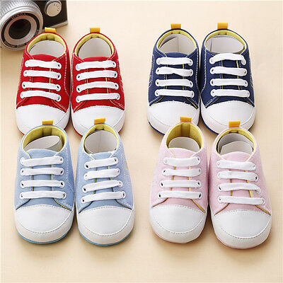 New Infant Baby Shoes Soft Sole Crib Sneakers Toddler Boy Girls Canvas Prewalker