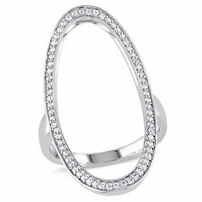 Amour Sterling Silver White Sapphire Oval Geometric Ring