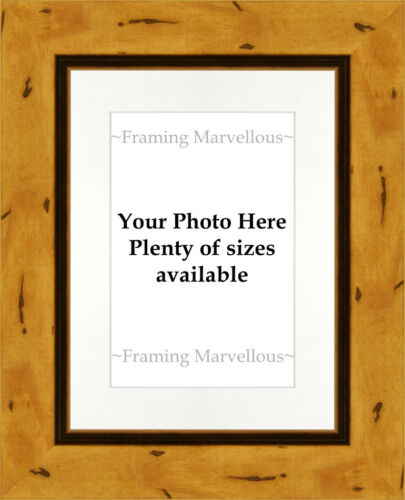 Choose size Rustic Effect Wooden Photo Picture Frame with White Mount