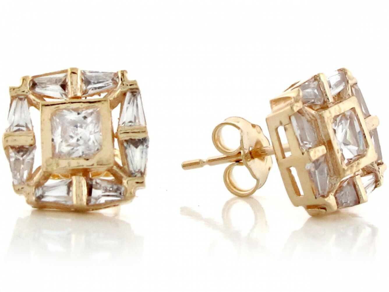 10k or 14k Yellow Real gold White CZ Square Post Fancy Womens Earrings
