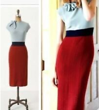 Rare Anthropologie Charlie Robin Tie Neck Colorblock Sweater Dress S Mad Men